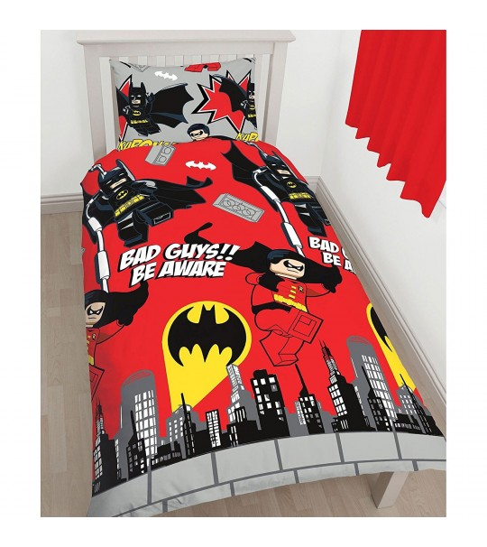 Lego DC Superheroes Kapow Single Panel Duvet Cover Set