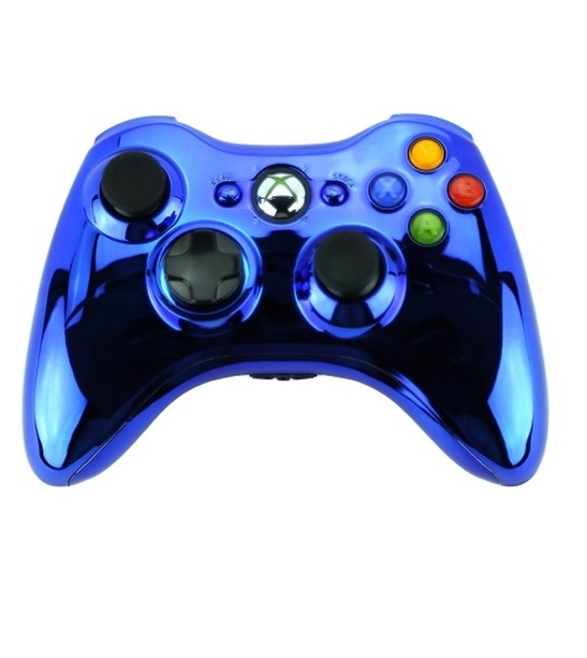 Microsoft Xb360 Wired Chrome Blue Controller Window Compatible