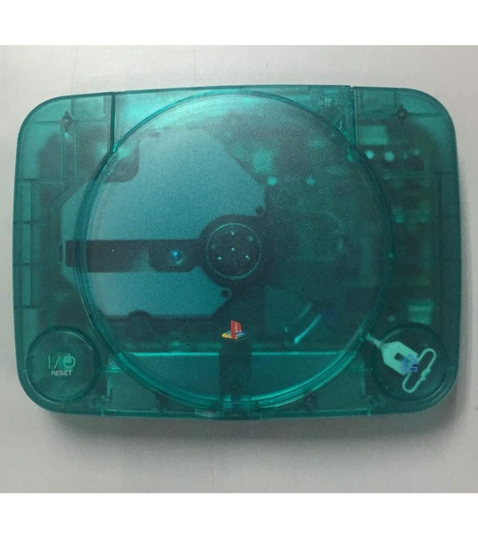 Ps one Console Crystal Emerald-Modded