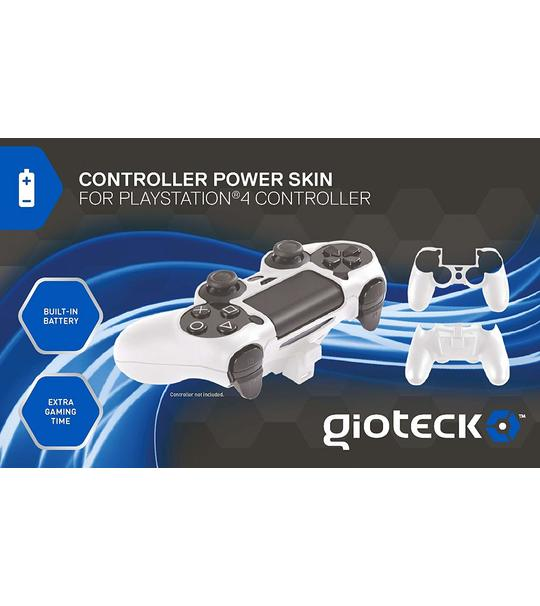 PS4 OFFICIALLY LICENSED GIOTECK POWER SKIN FOR PS4 DUAL SHOCK 4 CONTROLLER -BUILT IN BATTERY - WHITE